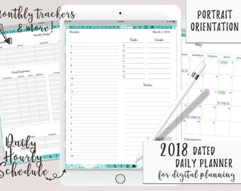 Dated Daily Digital Planner or Digital Journal in Portrait Orientation iPad Goodnotes | Digital Journal | Functioning Tabs | Tablet Planner