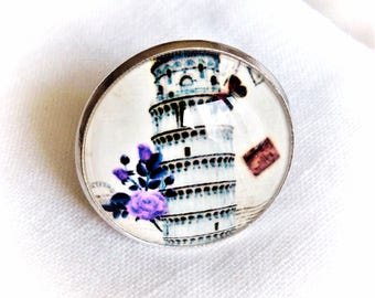 leaning tower of Pisa cabochon ring
