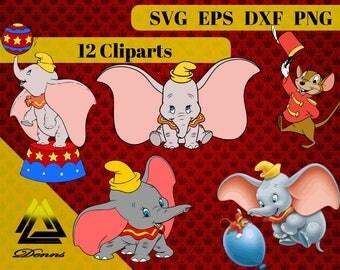Dumbo Clipart –12 (Svg, Eps, Png, Dxf Files) 300 PPI, Vectorial Images, Dumbo svg, T-Shirt Design,Dumbo Printable , Dumbo kids