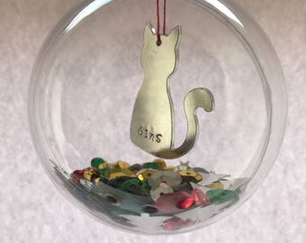 Personalised Pet Christmas Decoration- Bauble for the cat- Pet Christmas Decoration
