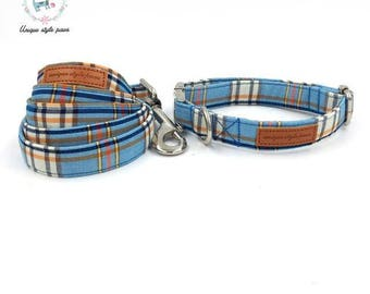 Blue Fashion Plaid - Dog Collar Bow Tie and Matching Leash Set