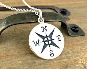Compass Necklace - free shipping - sterling silver nature jewelry - hiking gift for her - find your way - adventure - wanderlust - direction