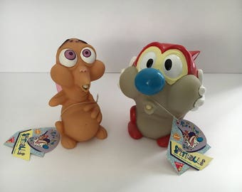 1990s Nickelodeon Pair of Ren & Stimpy Spitballs Water Squirter Toys