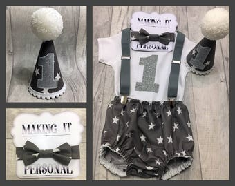 Boys 1st Birthday Cake Smash Outfit Grey White Star Party Hat Nappy Pants Braces Bow Tie Bodysuit Vest Glitter Vinyl 1 READY TO POST!!