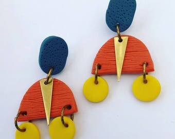 Harper & Fern Polymer Clay Dangle and Gold Earrings