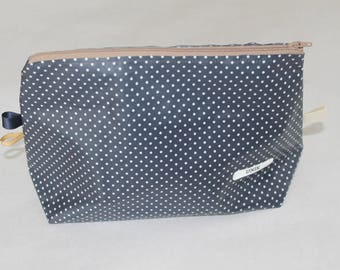Toiletry bag in blue coated cotton Navy with polka dots