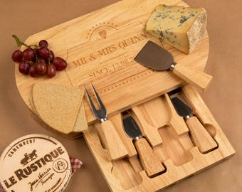 Personalised Mr & Mrs Wedding Cheese Board Gift Set - Personalised Gifts for Couples, Personalised Wedding Gifts,