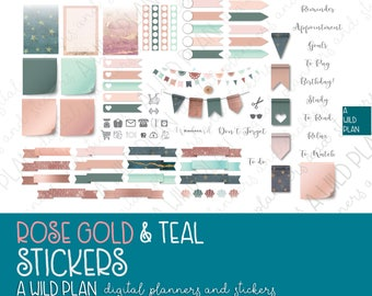 Digital Stickers for planners Rose Gold & Teal theme - Digital Planning |GoodNotes | iPad - includes pre-cropped GoodNotes file