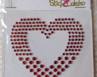 Rhinestone decal repositionable red heart patch