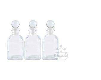 3 Bottles 3.4 oz Clear GLASS APOTHECARY Old World Style Bottle with Glass Ball Top Closure For Essential Oils Perfume Potions Alchemy Amulet