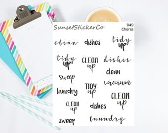 Chores/Cleaning Text Stickers (D49)