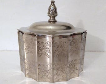 Vintage Silver Trinket Jewelry Box by Godinger Silver 1991 velvet lined with beautiful details, sturdy and heavy