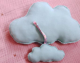 Set of 2 pillows of clouds in Mint double gauze