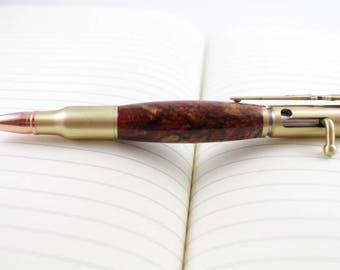 Antique Brass and Maple Burl - 30 Cal. Bolt Action Rifle Pen