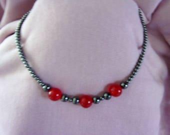 Gray Hemetite and Red Chalcedony choker