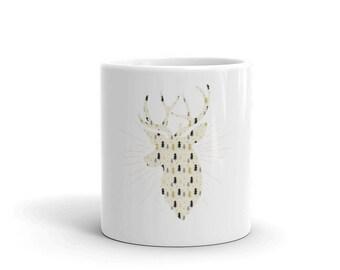 Christmas Reindeer Pattern Cute Holiday Mug