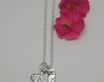 Silver Clay Small Double Heart Pendant