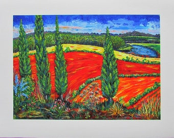 A4 Giclée Print entitled 'Autumn Fire in Tuscany' from an original acrylic painting by artist Martin Romanovsky