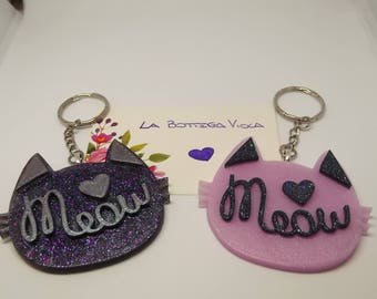 Creation Resin-Cat keychain Meow Charm Metal Bag-cat keyKeyringer-available different colors on request