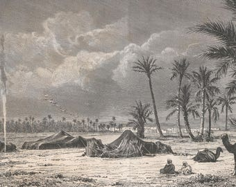 Algeria 1881, Biskra, Village and Tents in the Palm Trees, Old Antique Vintage Engraving Art Print, Tents, Palm, Trees, Plains, Men, Sitting