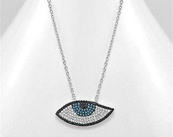 Sterling silver, .925, cubic zirconia simulated diamonds , evil eye pendant necklace
