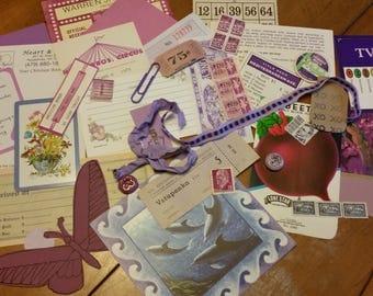 Purple Mini Paper Ephemera pack, Collage pack, 25+ pieces paper scrap pack, Paper ephemera lot, paper scraps, junk journal pack, pen pal lot
