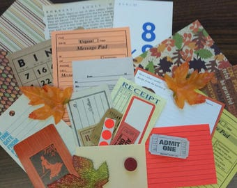 Autumn Mini Paper Pack / 20+ Pieces / Vintage & New / Collage pack/Paper ephemera lot/ junk journal pack / pen pal lot