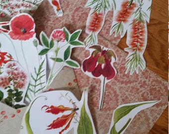 Red Botanical Collage Pack, 15+ pieces paper pack, Paper ephemera lot, junk journal pack, theme paper lot