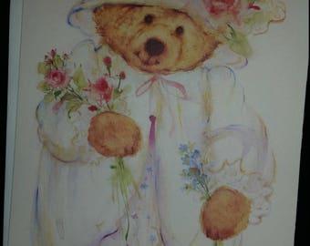 Vintage Greeting Card - Mary Hamilton Hallmark - Bear Holding Flowers  Blank Card