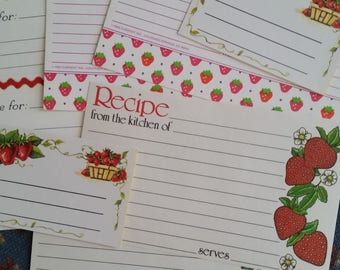 Vintage Recipe Cards Collection ~ Recipe Cards Strawberry Patch 8 Piece Set ~ Cooking Journals ~ Recipe Box