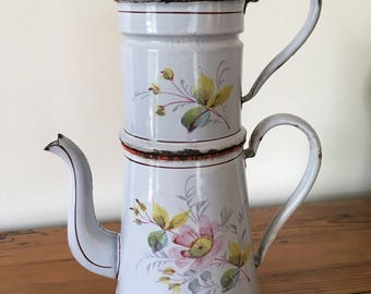 Vintage enamel coffee pot, 1900