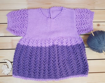 Baby dress - Knitted baby dress - Baby girl dress - Knitted baby clothes - Vintage style dress - Christmas Gift