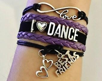 I love dance bracelet, Best friend bracelet, Dancer gift, Gift for Dancer, Dance Teacher gift, Coach jewelry, Dance Music, Black/Purple