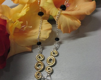 """""""Daphne"""" black and gold necklace silver plated"""