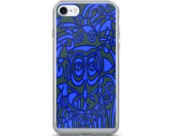 Look into My Eyes Blue Tiki iPhone 7/7 Plus Case