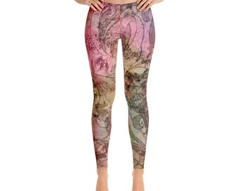Yoga Leggings - Full Leg Leggings - Exercise Leggings - Festival Leggings - Printed Leggings - Antique Rose Leggings