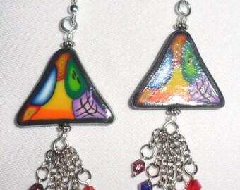 boucles d'oreille triangle mosaïque multicolor en pâte polymère