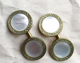 Vintage Mother of Pearl (MOP) and Rolled Gold Plate (gold filled) Cufflinks