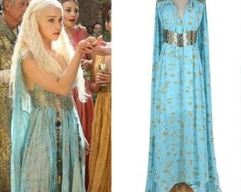 Game of Thrones Costume - Daenerys Qarth Blue Dress with Belt - Khaleesi Gown Daenerys Targaryen Cosplay