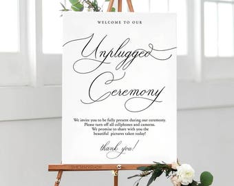 WC014 : Unplugged Wedding Sign, Unplugged Ceremony Sign, Unplugged Wedding, Unplugged Sign, Wedding Unplugged, PDF Instant Download