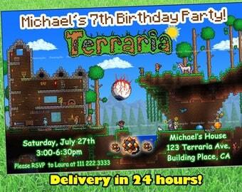 Terraria invitation. Terraria game invitation birthday party. Terraria birthday party invitation.Terraria Digital files