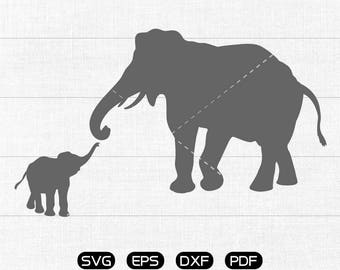 Elephant baby Svg, Elephant mom Clipart, cricut, cameo, silhouette cut files commercial & personal use
