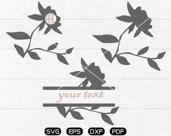 Flower SVG Files, Flower Monogram Frame svg, Flower Clipart, cricut, cameo, silhouette cut files commercial & personal use