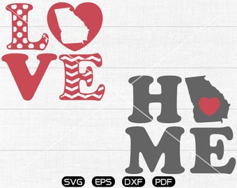 Love Georgia SVG, home Georgia svg, State SVG Vector, GA Clipart, cricut, silhouette cut files commercial use
