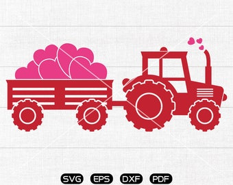tractor with heart svg, Tractor svg, Valentine's Day svg, valentines truck Clipart, cricut, silhouette cut files commercial use