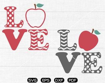 Love Teacher SVG, Teacher svg, Apple Clipart, cricut, silhouette cut files commercial use
