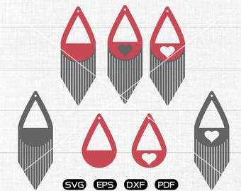 Tear drop Stack Fringe SVG, Teardrop earrings svg, leather jewelry making Clipart, cricut, silhouette cut files commercial use