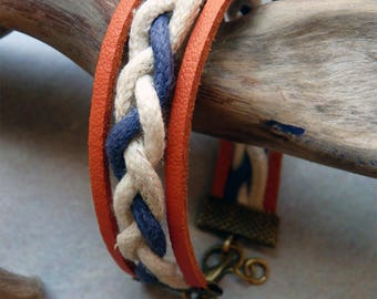 Orange Navy suede tressse bracelet