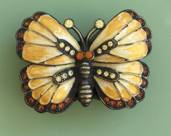 Vintage butterfly & leaves  pill box
