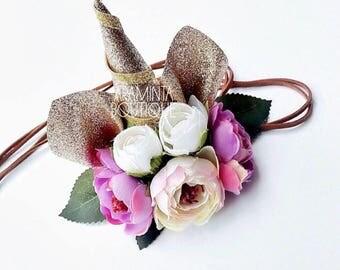 Unicorn Headband, Gold, Silver & Pink Sparkle,Cake Smash, Girls Birthday, Flower Headband, Photo Prop, Party,Dress up, 1st Birthday hat